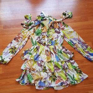 Floral pattern woman mini seeds dress
